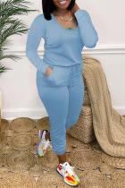 Blue Casual Solid Split Joint U Neck Skinny Jumpsuits