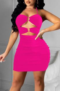 Rose Red Sexy Solid Hollowed Out Split Joint Fold Halter Pencil Skirt Dresses