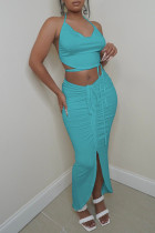 Baby Blue Fashion Sexy Solid Bandage Hollowed Out Asymmetrical Halter Sleeveless Two Pieces