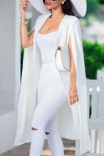 White Work Solid Hollowed Out Split Joint Turn-back Collar Outerwear