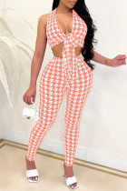 Orange Sexy Casual Print Backless V Neck Sleeveless Two Pieces