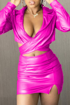 Rose Red Sexy Solid Split Joint Turndown Collar Long Sleeve Two Pieces