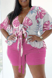 Purple Fashion Casual Print Basic V Neck Plus Size Two Pieces