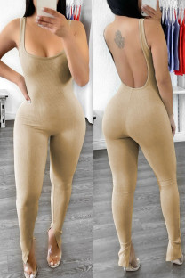 Khaki Sexy Casual Solid Backless Spaghetti Strap Skinny Jumpsuits