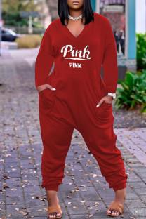 Red Fashion Casual Letter Print Pocket V Neck Regular Jumpsuits