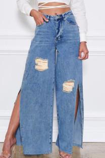 Blue Street Solid Ripped Split Joint Slit High Waist Straight Denim Jeans