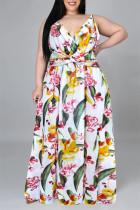 White Fashion Casual Print Backless V Neck Sling Dress