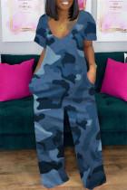 Blue Fashion Casual Print Basic V Neck Short Sleeve Regular Jumpsuits