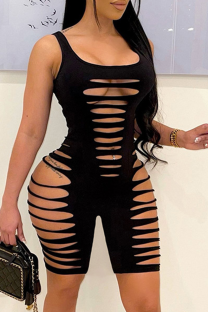 Black Sexy Solid Ripped Square Collar Skinny Jumpsuits