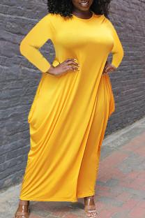 Yellow Casual Solid Split Joint Asymmetrical O Neck Irregular Dress Plus Size Dresses