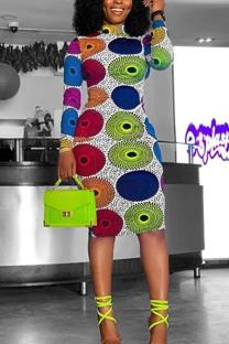 Multi-color Sexy Europe and America Long Sleeves O neck Step Skirt Knee-Length Print Dresses