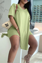 Fruit Green Street Solid Split Joint Slit O Neck Short Sleeve Two Pieces