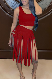 Red Sexy Solid Tassel Split Joint U Neck Sleeveless Two Pieces