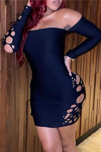 Black Fashion Sexy Solid Hollowed Out Backless Off the Shoulder Long Sleeve Dresses