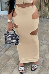 Khaki Sexy Casual Solid Hollowed Out Regular High Waist Skirt
