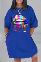 Blue Casual Print Split Joint O Neck Straight Dresses