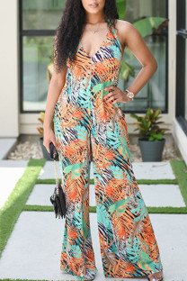 Green Yellow Casual Print Bandage Split Joint Backless Halter Plus Size Jumpsuits