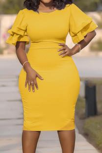 Yellow Fashion Slim Large Size Step Skirt Dress