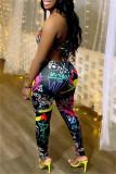 Black Fashion Sexy Print Backless Sleeveless Skinny Jumpsuits
