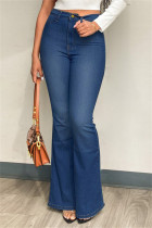 Deep Blue Fashion Casual Solid Basic Plus Size Jeans