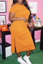 Orange Fashion Casual Plus Size Solid Slit O Neck Short Sleeve Dress