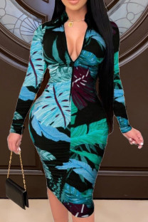 Green Fashion Casual Print Basic Zipper Collar Printed Dress