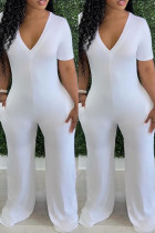 White Fashion Casual Solid Basic V Neck Skinny Jumpsuits