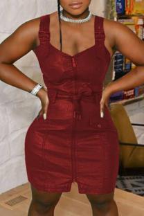 Burgundy Sexy Solid Split Joint V Neck Pencil Skirt Dresses