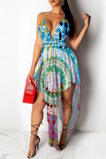 Blue Sexy Print Asymmetrical Spaghetti Strap A Line Dresses