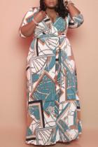 Cyan Elegant Print Bandage Split Joint V Neck Straight Plus Size Dresses