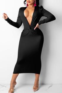 Black Sexy Solid Split Joint Fold V Neck Pencil Skirt Dresses