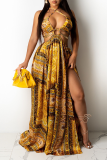 Yellow Sexy Print Hollowed Out Halter Cake Skirt Dresses