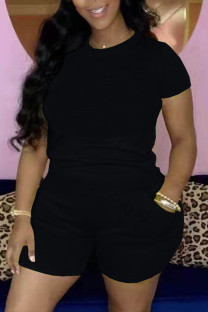 Black Casual Solid Basic O Neck Short Sleeve Two Pieces