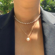 Gold Fashion Double Layer Necklace With Pearl Pendant And Pearl Chain