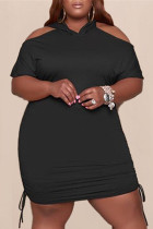 Black Fashion Casual Plus Size Solid Hollowed Out V Neck Short Sleeve Dress