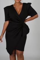 Black Casual Solid Split Joint V Neck Irregular Dress Dresses