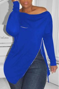 Blue Casual Solid Split Joint Asymmetrical Zipper Zipper Collar Tops