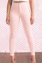 Pink Street Solid Zipper Skinny Mid Waist Pencil Solid Color Bottoms