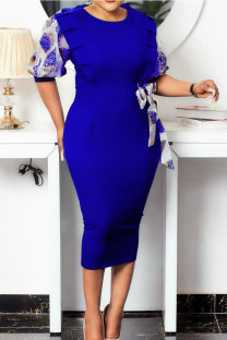 Royal Blue Casual Print Split Joint With Bow O Neck Pencil Skirt Dresses