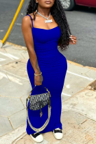 Blue Sexy Solid Split Joint Spaghetti Strap Pencil Skirt Dresses