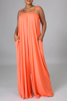 Pink Casual Solid Split Joint Spaghetti Strap Straight Jumpsuits