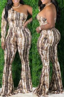Multicolor Fashion Sexy Print Backless Oblique Collar Plus Size Jumpsuits