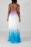 Multicolor Sexy Gradual Change Split Joint Spaghetti Strap Cake Skirt Dresses