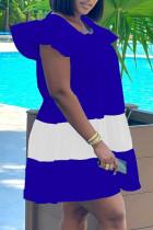 Royal Blue Casual Patchwork Flounce O Neck Short Sleeve Dress