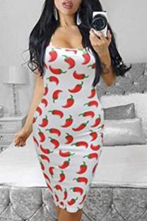 Red White Sexy Print Split Joint U Neck Pencil Skirt Dresses