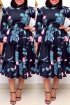 Deep Blue Fashion Casual Plus Size Print Split Joint O Neck Long Sleeve Cake Dresses
