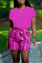 Rose Red Casual Print Split Joint O Neck Short Sleeve Two Pieces