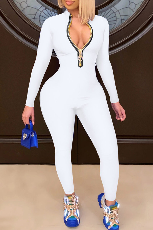 White Casual Solid Split Joint Zipper Collar Skinny Jumpsuits