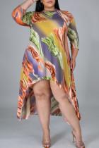 Deep Coffee Casual Print Split Joint Asymmetrical O Neck Irregular Dress Plus Size Dresses