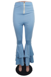 Blue Casual Solid Split Joint Boot Cut High Waist Speaker Solid Color Bottoms